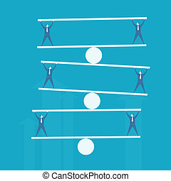 onderlegger evenwicht, zakenmens