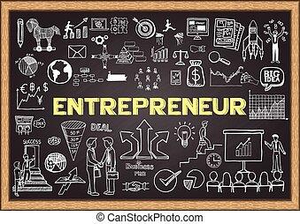 ondernemer, chalkboard