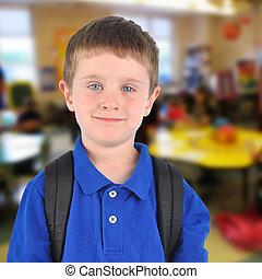onderricht jongen, in, klaslokaal