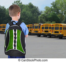 onderricht jongen, kijken naar, bus, met, bookbag