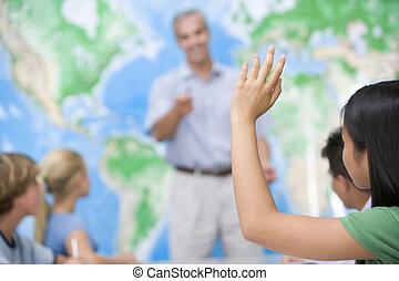 onderricht kinderen, en, hun, leraar, in, een, secundair onderwijs, stand