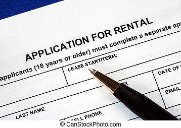 ondertekeend, de, huur, toepassing