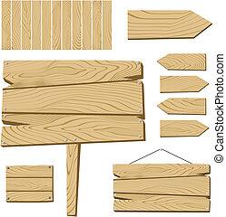 ondertekenen plank, en, houten, voorwerpen
