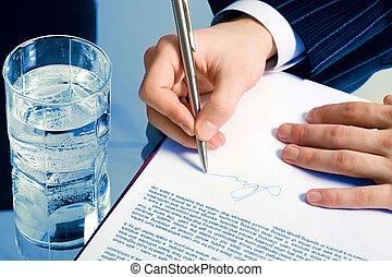 ondertekening, een, contracteren