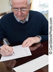 ondertekening, laatste wil, testament, thuis, hogere mens