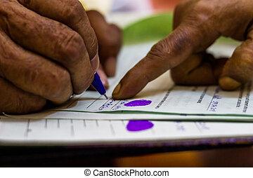 ondertekening, oud, wettelijk, instructed, imoirtant, document, man