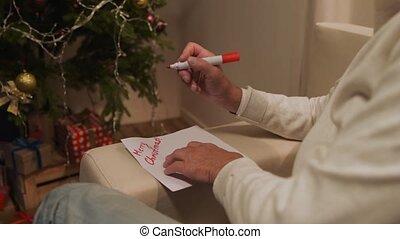 ondertekening, vermakelijk, senior, kerstmis kaart, man