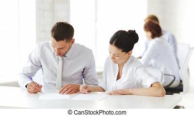 ondertekening, vrouw, contracteren, man