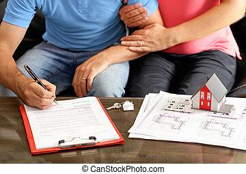 ondertekening, woning, lening, jonge, kopen, contracteren, paar