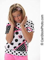 ondervraging, verwonderd, jong meisje