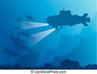 onderwater, benevelde achtergrond, duikboot