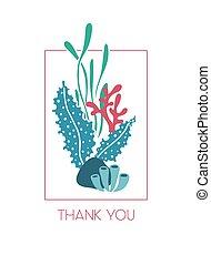 onderwater, danken, seaweeds, groet, u, kaart