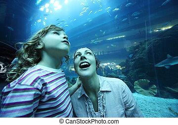 onderwater, dochter, tunnel, aquarium, moeder, verbazing, hoek, gezichten, breed