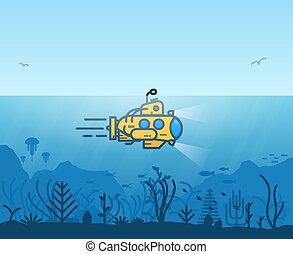 onderwater, gele, duikboot