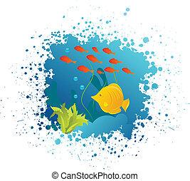 onderwater, grunge, achtergrond