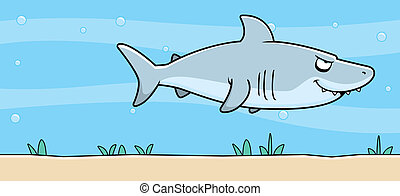 onderwater, haai, spotprent