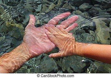 onderwater, kinderen, volwassene, holdingshanden