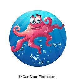 onderwater, komisch, octopus, spotprent, oceaan