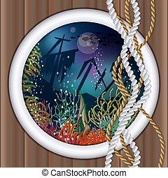 onderwater, scheeps , achtergrond, patrijspoort