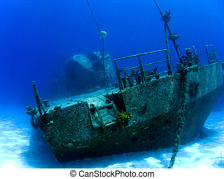 onderwater, schipbreuk, in, kaaiman, brac