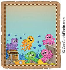 onderwater, thema, 5, perkament