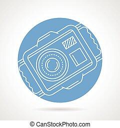 onderwater, vector, fototoestel, ronde, pictogram