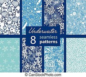 onderwaterleven, set, fish., pattern., seamless, kust, tropische , acht, californië, seeweed