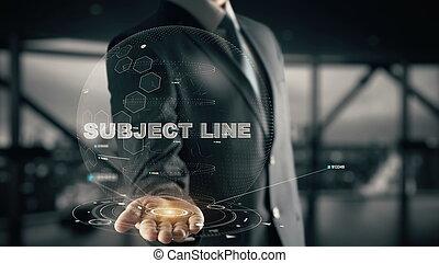 onderwerp, lijn, met, hologram, zakenman, concept