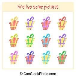 onderwijs, cadeau, afbeeldingen, precies, twee, illustratie, spotprent, vector, zelfde, activiteit, bevinding, kinderen, preschool