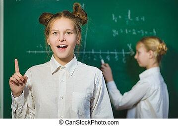 onderwijs, concept, denken, bord, school, achtergrond, meisje