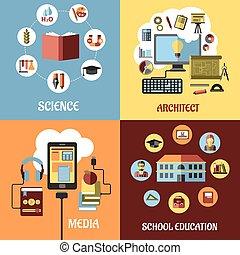 onderwijs, concept, ontwerpen, in, plat, stijl