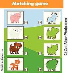 onderwijs, geitjes, silhouette, boerderij, game., bijbehorend, activiteit, dieren, kinderen