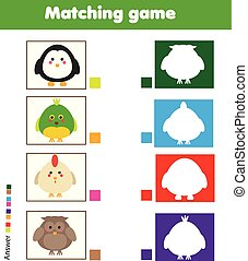 onderwijs, geitjes, silhouette, game., bijbehorend, dier, activity., kinderen, lucifer