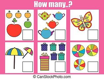 onderwijs, geitjes, voorwerpen, velen, spel, hoe, klus, activity., telling, kinderen