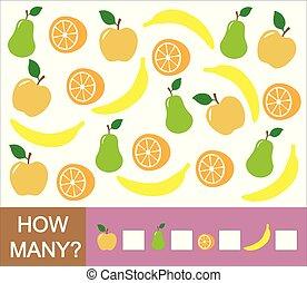 onderwijs, hoe, velen, spel, banana)., peer, getallen, (apple, sinaasappel, leren, vruchten, children., mathematics., telling