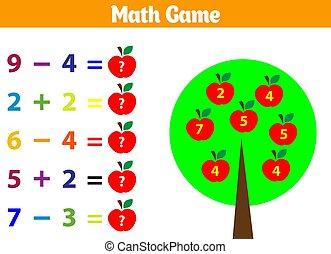 onderwijs, illustratie, spel, vector, children., wiskunde