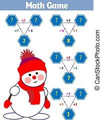 onderwijs, illustratie, spel, vector, wiskunde, kinderen