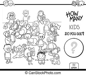 onderwijs, kleur, spel, boek, telling, kinderen