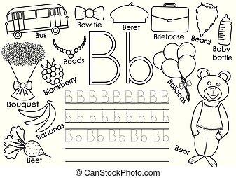 onderwijs, kleuren, alphabet., illustration., game., b., praktijk, book., schrijvende , vector, brief, engelse , children.