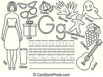 onderwijs, kleuren, alphabet., practice., schrijvende , spel, book., brief, engelse , children., g.