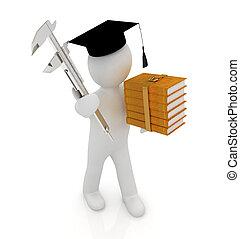 onderwijs, literatuur, technisch, caliper, afgestudeerd, vernier, achtergrond, witte , man, hoedje, best, 3d
