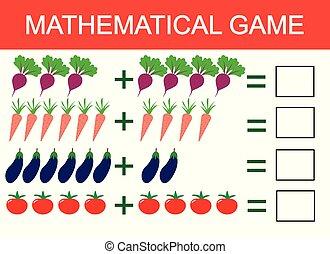 onderwijs, optelling, groentes, kinderen, illustratie, spel, vector, leren, children., activity., telling, voorbeeld, wiskunde