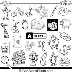 onderwijs, spel, geitjes, kleur, boek