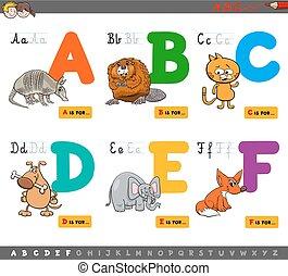 onderwijs, spotprent, alfabet, brieven, voor, leren