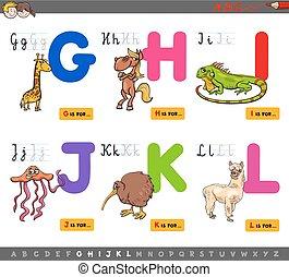 onderwijs, spotprent, alfabet, voor, kinderen