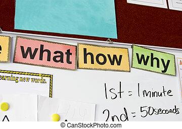 onderwijs, taal, whiteboard