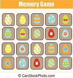 onderwijs, toddlers., game., thema, spel, geheugen, pasen, kinderen