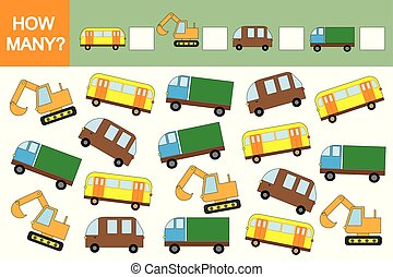 onderwijs, velen, (transports)?, hoe, spel, auto's, children., wiskunde, telling
