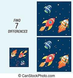 onderwijs, verschillen, spel, kinderen, vinden