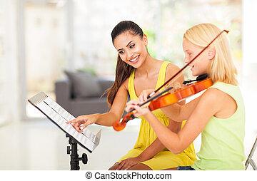 onderwijzeres, toneelstuk, preteen, onder, viool, meisje, instructies